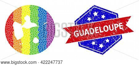 Pixel Bright Spectral Map Of Guadeloupe Collage Composed With Circle And Subtracted Shape, And Textu