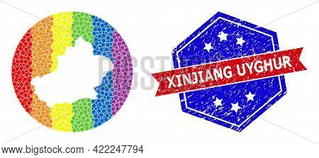 Dot Spectral Map Of Xinjiang Uyghur Region Mosaic Created With Circle And Subtracted Shape, And Scra