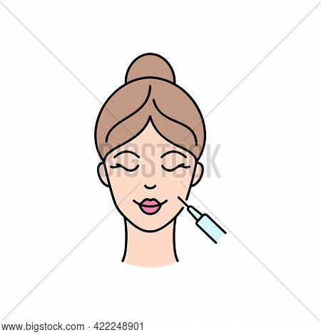 Hyaluronic Acid Face Injection. Line Art Icon.