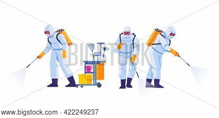Home Disinfection By Cleaning Service. People In Virus Protective Suits And Mask Disinfecting Buildi