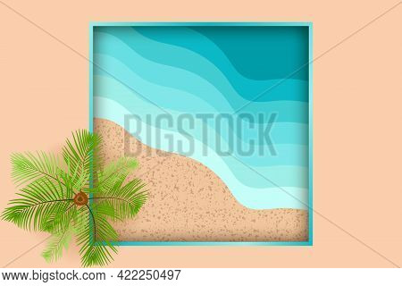 Top View Of The Sandy Beach. Palm Tree And Sea Waves In Flat Design. Vacation Or Travel Concept Vect