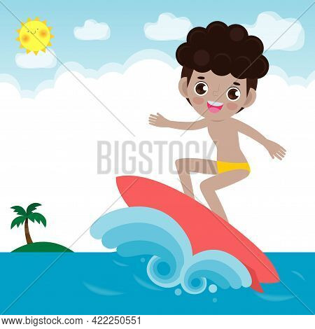 Cute Surfer People Character With Surfboard And Riding On Ocean Wave. Happy Young Surfer Guy On The