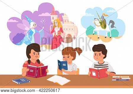 Kids Read Fairy Tales. Cartoon Children Dream Of Princesses And Knights. Boys And Girls Sit At Table