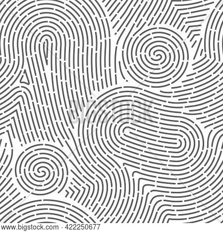 Seamless Finger Print. Black And White Macro Pattern. Unique Thumbs Marks. Personal Biometric Data.