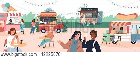 Street Food Festival. Gastronomic Holiday In Meal Trucks Park. Cartoon People Buy Snacks And Drinks