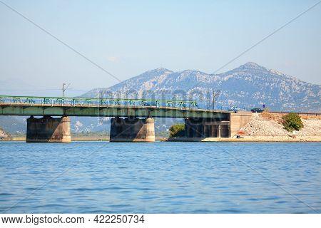 Bridge Over The Skadar Lake In Montenegro . Beam Bridge Or Simply Supported