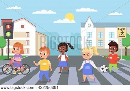 Kids Walking Crosswalk. Children Cross Road On Zebra Crossing. Girls And Boys Follow Pedestrian Rule