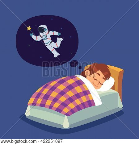 Children Sleep. Kid In Bed Dreaming Of Space Flight. Boy Wants To Become Astronaut. Character Thinki