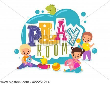 Kids Play Room. Playground Cartoon Logo. Children Zone For Games. Boys And Girls With Plush Bunny Or