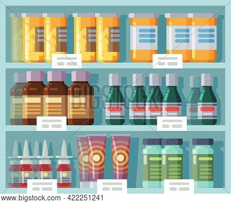 Pharmaceutical Shelves. Medicine Rack. Front View Of Store Showcase With Labels. Medicated Creams An