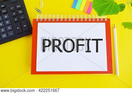 Notepad With The Text Of The Profit Above Notebook Concept Of Business Success, Financial Growth And