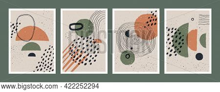 Abstract Art Minimalist Posters Set. Scandinavian Abstract Geometric Composition For Wall Decoration