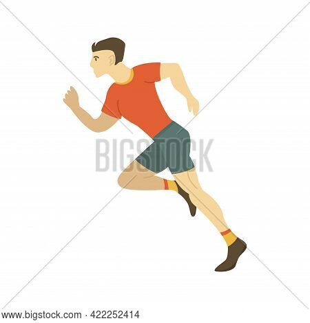 Man Runner Is Running At High Speed, Athlete Is Taking Part In A Race. Side View. Running Day. Color