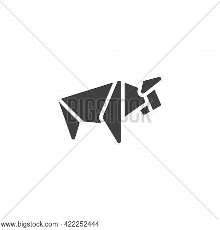 Buffalo Origami Origami Vector Icon. Filled Flat Sign For Mobile Concept And Web Design. Paper Anima