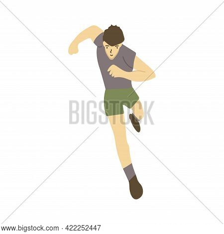 Man Runner Is Running At High Speed, Athlete Is Taking Part In A Race. Front View. Running Day. Colo