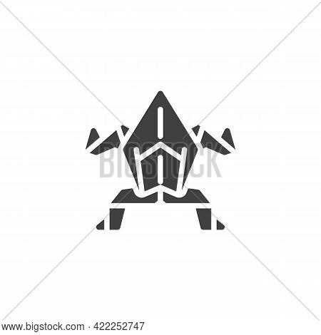 Origami Frog Vector Icon. Filled Flat Sign For Mobile Concept And Web Design. Paper Frog Glyph Icon.
