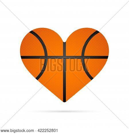 A Heart Shape Basketball Ball Vector Icon.