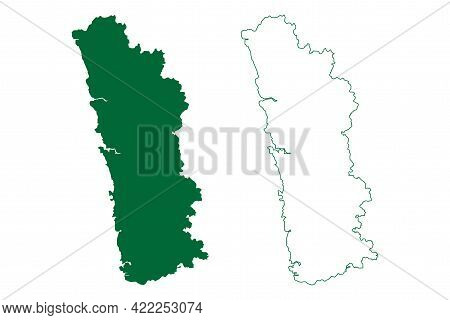 Ratnagiri District (maharashtra State, Konkan Division, Republic Of India) Map Vector Illustration,
