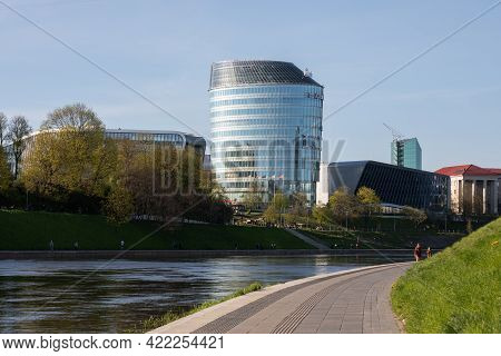 Vilnius, Lithuania - May 11, 2021: Green Hall Valley Top-quality Business Centre, View From The Neri