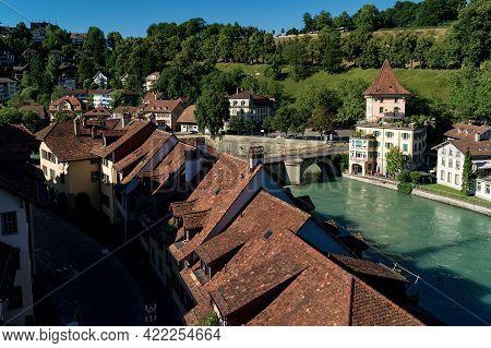 Bern, Switzerland - July 16, 2019: Old Town Architecture Of Bern With The Bridge Untertorbryukke Ove