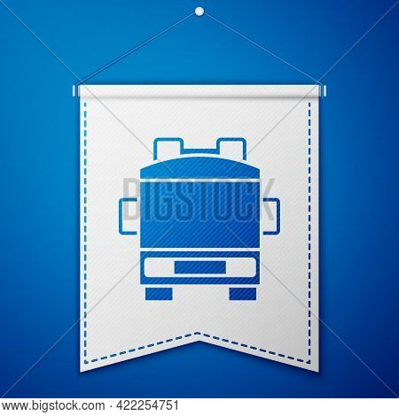 Blue Fire Truck Icon Isolated On Blue Background. Fire Engine. Firefighters Emergency Vehicle. White
