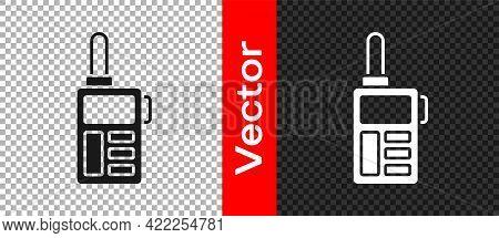 Black Walkie Talkie Icon Isolated On Transparent Background. Portable Radio Transmitter Icon. Radio