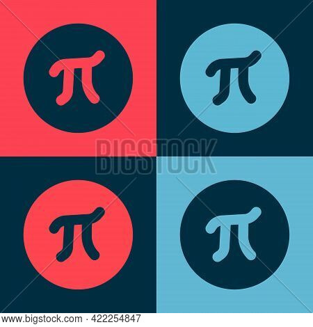 Pop Art Pi Symbol Icon Isolated On Color Background. Vector