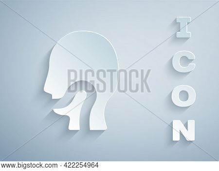 Paper Cut Sore Throat Icon Isolated On Grey Background. Pain In Throat. Flu, Grippe, Influenza, Angi