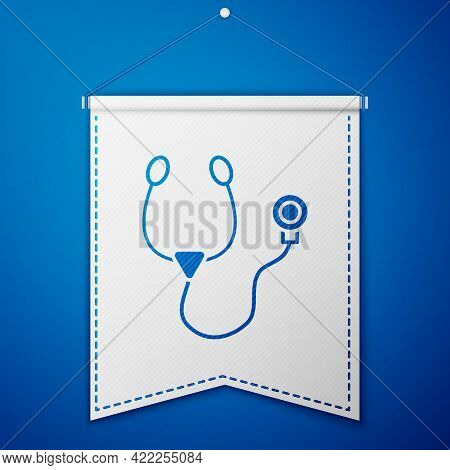 Blue Stethoscope Medical Instrument Icon Isolated On Blue Background. White Pennant Template. Vector