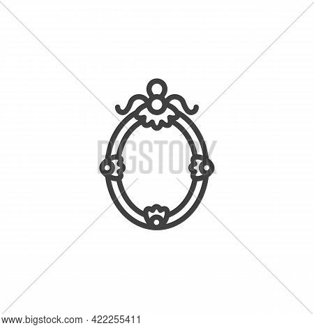 Vintage Picture Frame Line Icon. Linear Style Sign For Mobile Concept And Web Design. Border Frame O