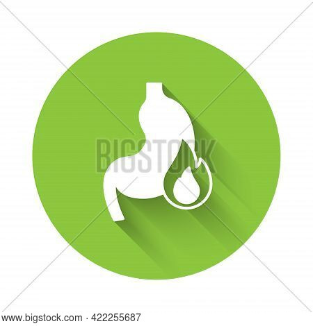 White Stomach Heartburn Icon Isolated With Long Shadow. Stomach Burn. Gastritis And Acid Reflux, Ind