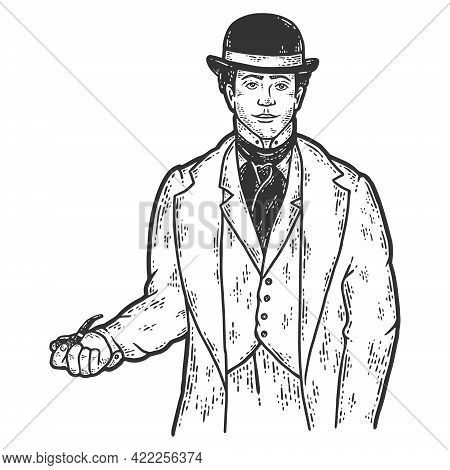 Male Detective, Nineteenth Century Clothing Style. Man, Cook In Uniform. Sketch Scratch Board Imitat