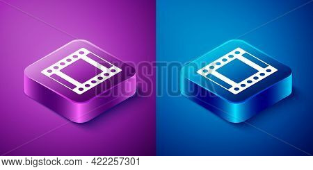 Isometric Camera Vintage Film Roll Cartridge Icon Isolated On Blue And Purple Background. 35mm Film
