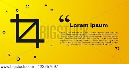 Black Picture Crop Photo Icon Isolated On Yellow Background. Vector
