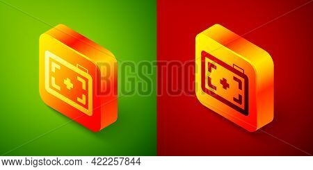 Isometric Photo Camera Icon Isolated On Green And Red Background. Foto Camera. Digital Photography.