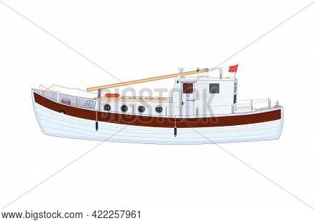 Boat Isolated On White Background. Commercial Sea Fishing Trawler Vessel. Nautical Sailing Transport