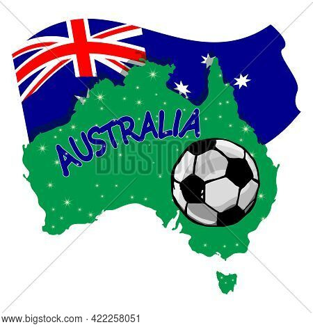 Soccer Ball With Australia Continent And Flag Isolated On White Background. Australian Football Conc