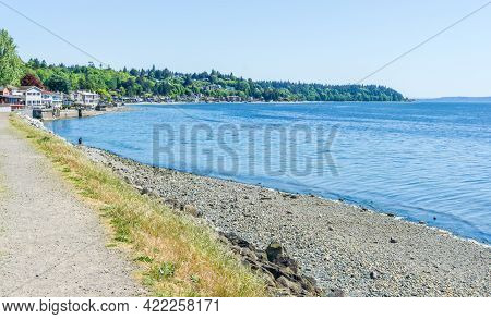 A View O F The Shoreline In West Seattle, Washington.