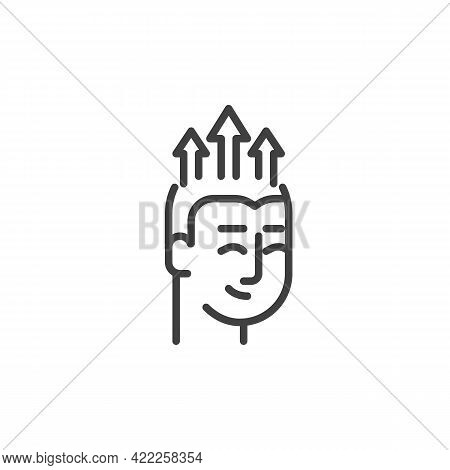 Human Head With Arrows Up Line Icon. Linear Style Sign For Mobile Concept And Web Design. Growth Min