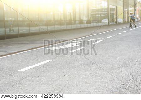 Bicycle Path. Cycling Transportation Infrastructure. White Bicycle Lane Sign On Asphalt Surface, Saf
