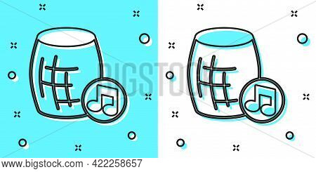 Black Line Voice Assistant Icon Isolated On Green And White Background. Voice Control User Interface