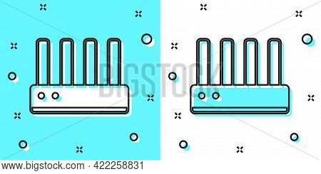 Black Line Router And Wi-fi Signal Icon Isolated On Green And White Background. Wireless Ethernet Mo