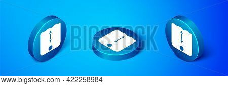 Isometric Depth Measurement Icon Isolated On Blue Background. Water Depth. Blue Circle Button. Vecto