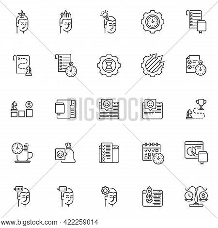 Business Productivity Line Icons Set. Linear Style Symbols Collection, Outline Signs Pack. Productiv