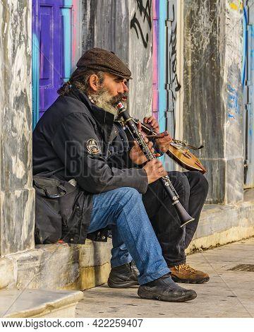 Two Men Playing Music, Athens, Greece