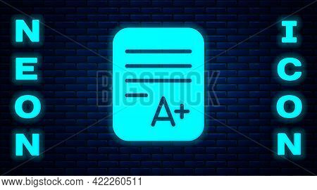 Glowing Neon Exam Sheet With A Plus Grade Icon Isolated On Brick Wall Background. Test Paper, Exam,