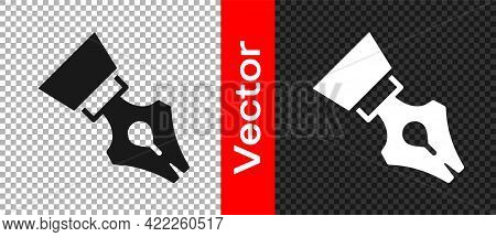 Black Fountain Pen Nib Icon Isolated On Transparent Background. Pen Tool Sign. Vector