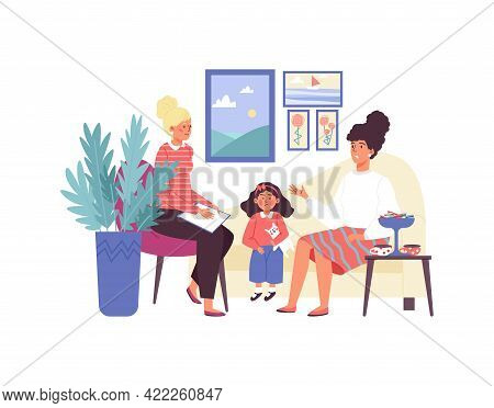 Psychologist Having Session With Patient - Angry Kid Girl And Worried Mother.