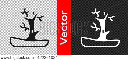 Black Bare Tree Icon Isolated On Transparent Background. Vector