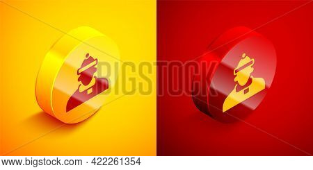 Isometric Autumn Clothes Icon Isolated On Orange And Red Background. Circle Button. Vector